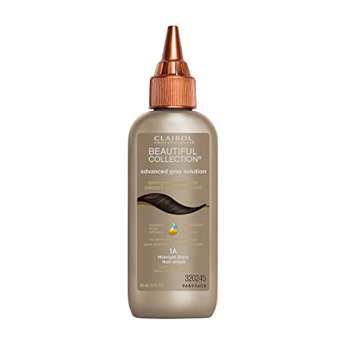 Clairol Professional Beautiful Collection, Advanced Gray Hair Solution, Semi-Permanent Hair Color, 1A Midnight Black, 3 fl oz