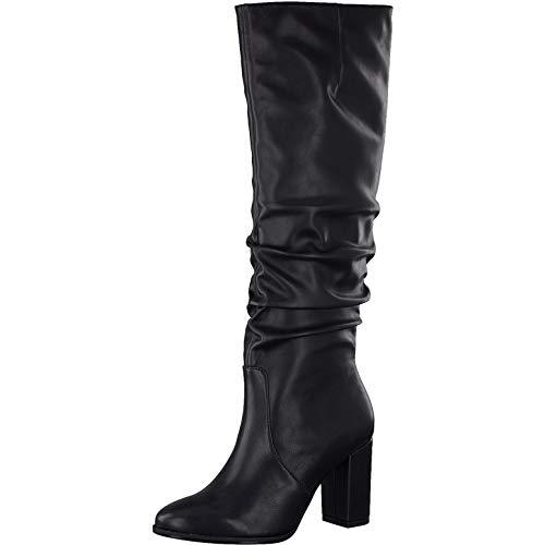 Tamaris Damen Stiefel, Women Woman Abend elegant Feier Boots lederstiefel langschaftstiefel reißverschluss weiblich Lady,Black MATT,38 EU / 5 UK