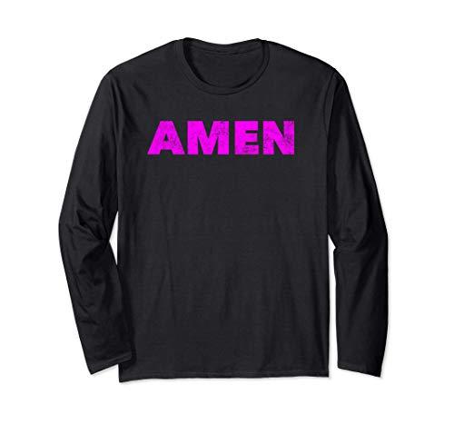 Amen - Christian Faith Prayer Saying Amen Maglia a Manica