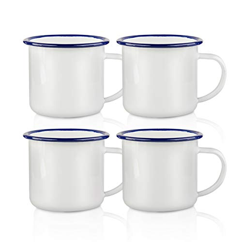 PYD Life Sublimation Blanks Enamel Mug with Navy Rim 12 OZ Coffee Camping Travel Mug Gifts For Him or Her 4 Pack
