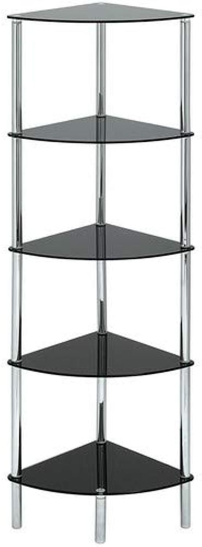 Aspect Polo 5 Tier Corner Display Glass Unit-Black, S