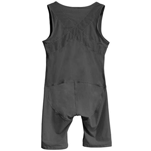 TOBEEY Herren Shapewear Tummy Control Bodysuit Abnehmen Oberschenkel Kompression Open Crotch Body Shaper