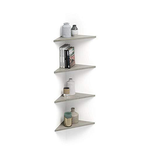 Mobili Fiver, Set di 4 Mensole ad Angolo Easy, Cemento, 35 x 35 x 49 cm, Nobilitato, Made in Italy