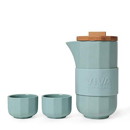 Théière design en porcelaine avec couvercle en bambou de haute qualité, avec 4 tasses à thé (70 ml), set complet de couleur vert d'eau