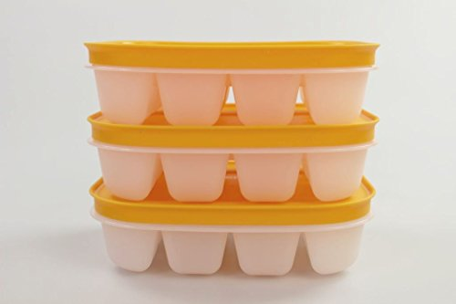 TUPPERWARE Gefrier-Behälter Eiswürfler (3) orange mit Deckel mini Eiswürfel Eis FBA 17625
