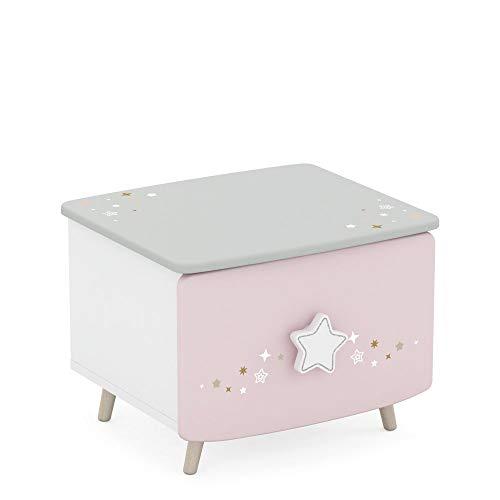 Jugendmöbel24.de Nachtkommode Sternschnuppe rosa/weiß MDF Holz Mädchen Kinderzimmer Nachttisch Nachtkonsole Nachtschrank Nachtkästchen