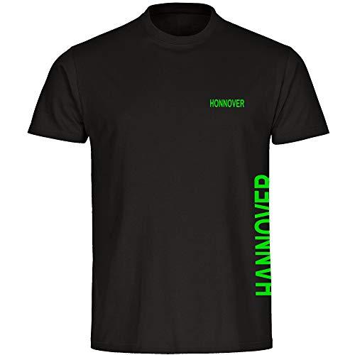 Multifanshop Herren T-Shirt Hannover seitlich - Schriftzug auf der Brust und auf der Seite - schwarz - Größe S bis 5XL - Fußball Fanartikel Fanshop,Farbe:schwarz,Größe:XL