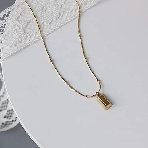 Collar de cuentas redondas de hueso de serpiente simple con colgante de rectángulo brillante dorado chapado en titanio joyería de mujer Collar de la amistad Regalo de cumpleaños para ella