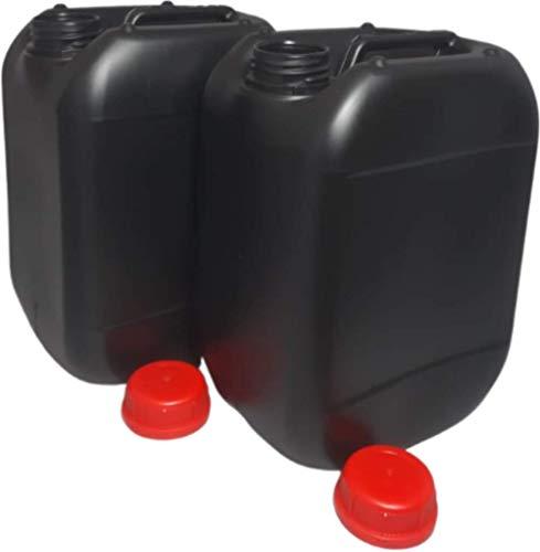 2 Garrafas bidones plástico 10 litros Negra homologado ADR boca ancha ideal para agua gasolina químicos depósito aire acondicionado camping furgoneta camper