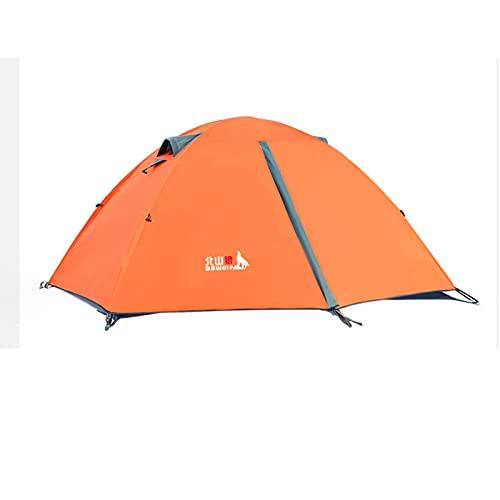 Tienda de campaña para 2 Personas de Doble Capa Ultraligera Carpa Impermeable y Cortavientos para Acampar Playa Exterior Senderismo Viaje,Orange