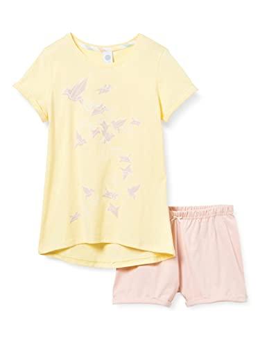 Sanetta Mädchen Pyjama Short Allover gelb Pyjamaset, Lemon, 176