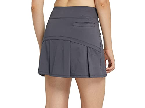 Women's Tennis Skirt Pleated Athletic Skort with 3 Pockets for Golf Running Workout Sports m gy Grey