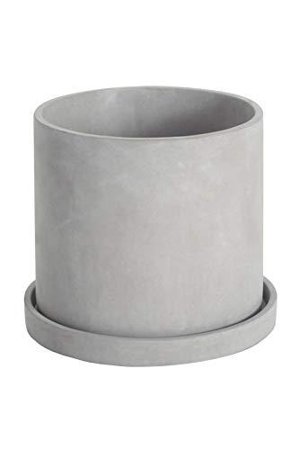 Ekirlin 植木鉢 セメント 鉢 受け皿付き 観葉植物 円筒形鉢 おしゃれ コンクリート 穴付き プランター 5号 シンプル グレー (14cm)