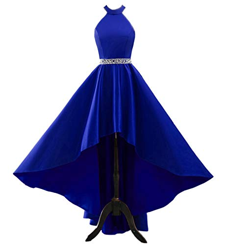 Prom Dresses Long A Line with Pockets Formal Evening Ball Gowns Halter Open Back Party Dress 2021 Royal Blue-10 (Apparel)