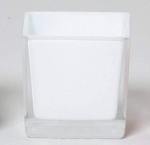INNA-Glas Lot 3 x Pot de Fleurs Levi, Cube - carré, Blanc, 12x12x12cm - Bougeoir en Verre - Photophore Cube