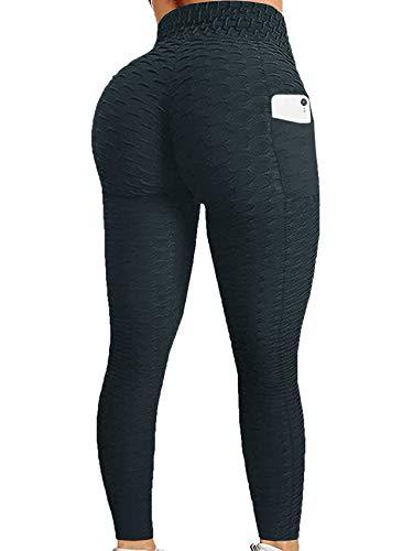 Gemijacka Leggings de mujer de cintura alta, deportivos, ajustados, largos, pantalones de yoga, elásticos, con 2 bolsillos laterales, para primavera y verano Color negro. S