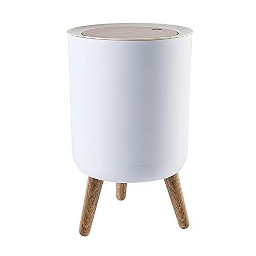 Cubo De Basura De Madera Tipo Empujar con Tapa, Contenedor De Basura De Almacenamiento De Pie Alto (Color : White, Size : 22 * 36.3cm)