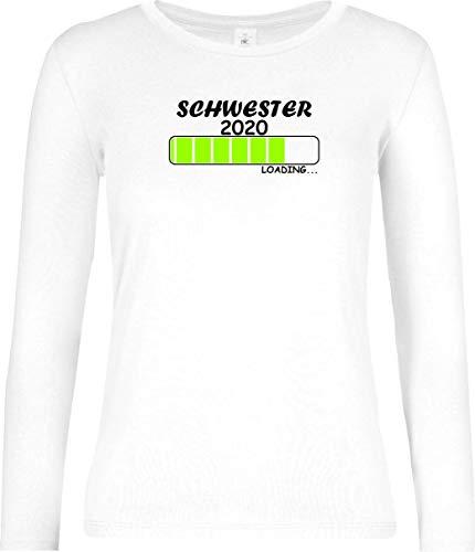 Shirtinstyle Lady Long, Schwester 2020 Loading, Motiv, Logo, Spruch, Verwandtschaft, Mann, Frau, Ehe, Liebe, Farbe Weiss, Größe M