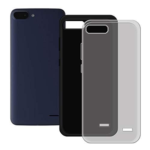 DQG Anti-Fall Schutzhülle für Archos Core 55s Hülle, 2 Stück Weiche Flexibel Handytasche Semi-Transparent Grau + Schwarz TPU Handyhülle Silikon Tasche Schale Hülle Cover für Archos Core 55s (5.5