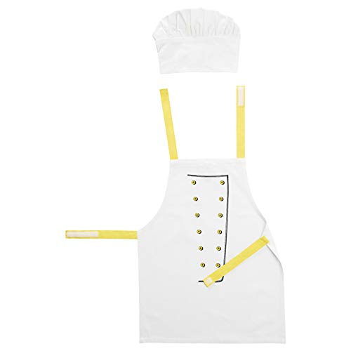 Toppklock - Delantal infantil con gorro de chef, color blanco y amarillo
