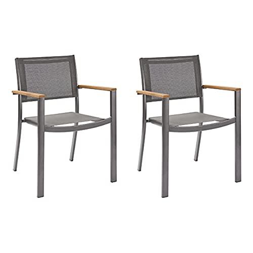 Naterial - 2er-Set stapelbare Gartenstühle ORIS - Aluminium - Eukalyptus - Grau