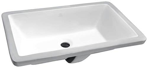 ANZZI Rhodes Modern Ceramic Undermount Sink for Bathroom | 21 Inch Vitreous Polished White Vanity Sink Single Bowl Rectangle for Lavatory | Front Built in Overflow Porcelain Bathroom Sink | LS-AZ112