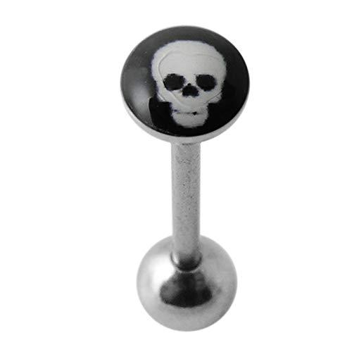 Totenkopf auf schwarzem Hintergrund Logo 316L chirurgischer Stahl Zunge Bar Piercing-Schmuck
