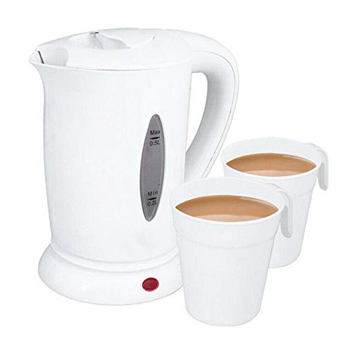 Compact 0.5 Litre Dual Voltage Electric Travel Kettle with Two Cups