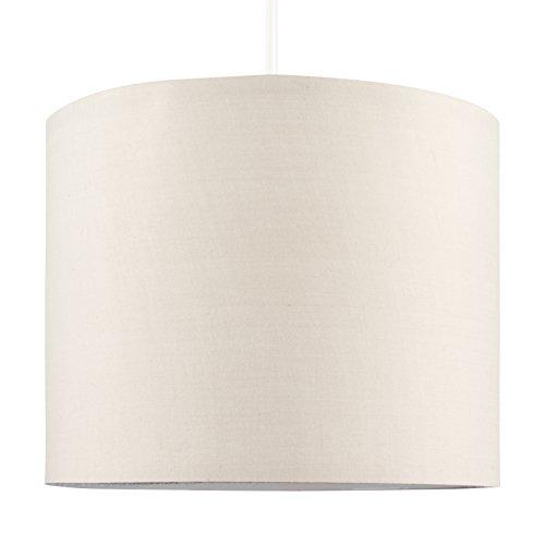 MiniSun – Moderna Pantalla Cilíndrica– Lámparas Techo o Mesa – Tamaño Pequeño - Tela Crema – iluminación Interior