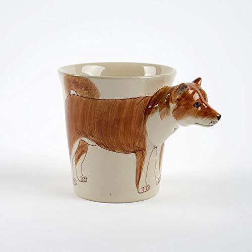 Tasses 3D d'animaux thaïlandais Peints à la Main de Shiba Inu en céramique Tasse à café Copain Cadeau d'anniversaire Chat Verre d'eau