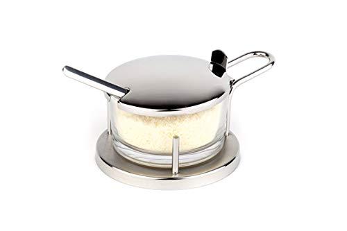 """APS Parmesan-Menage """"Classic, Parmesan Gefäß, Parmesan Dose mit Löffel, transparentes Glas für Parmesan im Edelstahl Gestell, 11 x 15 cm, 7 cm Höhe"""