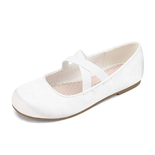 DREAM PAIRS Girls Ballerina Dress Shoes Cross-Strap Mary Jane Flats White Size 5 Big Kid Angie-2