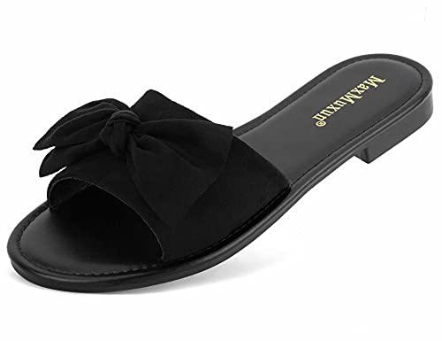 MaxMuxun Damen Single Band Sandalen Süße Schleife Sandale Weiche Open Toe Slide Slipper Indoor Outdoor Flip-Flops Strandschuhe Schwarz Größe EU 42