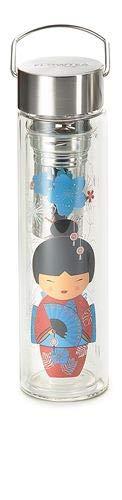 b + d Flowtea- Little Geisha, Glas doppelwandig, rot Edelstahlsieb u. Neoprenmantel