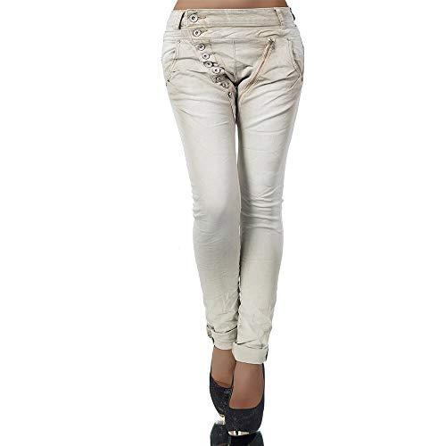 Damen Jeans Hose Boyfriend Damenjeans Harem Baggy Chino Haremshose L368, Farbe: Beige, Größe: 36