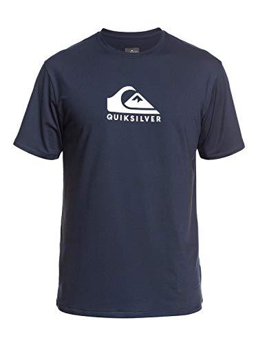 Quiksilver Men's Solid Streak SS Short Sleeve Rashguard SURF Shirt, Navy Blazer, L