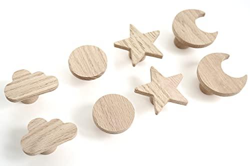 Juego de 4 tiradores de madera de roble sin tratar con diseño de estrella, para armario, cajón, habitación de los niños, idea de regalo (4 estrellas)