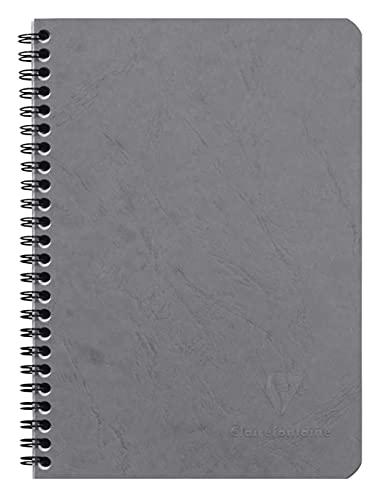 Clairefontaine 785365C Un Carnet à Spirale Gris - A5 14,8x21 cm 100 Pages Lignées Papier Clairefontaine Blanc 90 g - Couverture Carte Lustrée Grain Cuir - Collection Age Bag