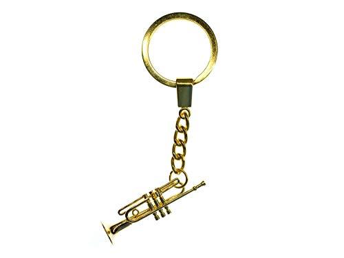 Miniblings Trompete Schlüsselanhänger + Box Musiker Jazz Trompeter vergoldet - Handmade Modeschmuck I I Anhänger Schlüsselring Schlüsselband Keyring
