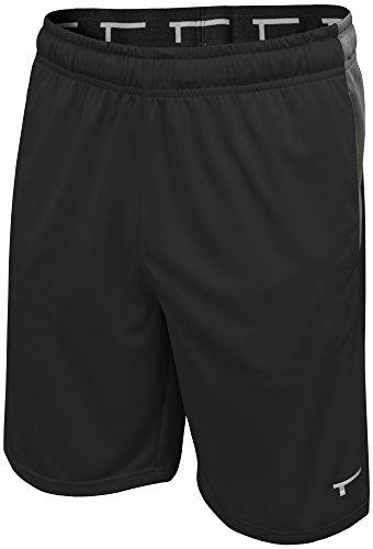 TREN Herren COOL Performance Panel Polyester Short Sporthose mit Seitentaschen Schwarz 001 - L
