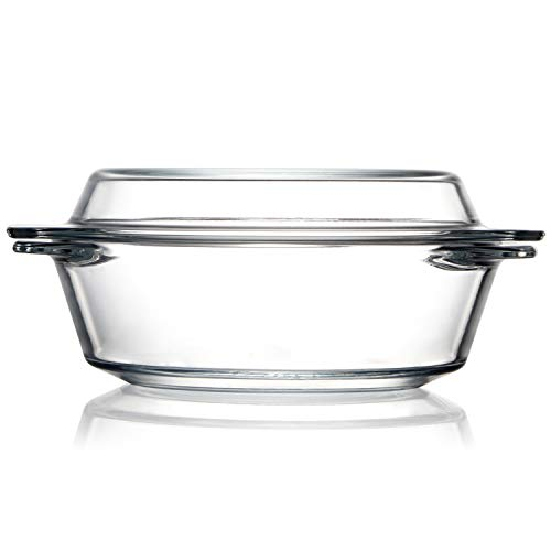 Clear Round Glass Casserole With Lid Glass Bakeware Easy Grab Baking Dish, Microwave, Oven, Freezer, and Dishwasher Safe (1L)
