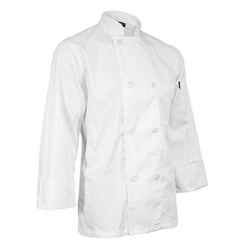 ChefsCloset Unisex Long Sleeve Button White Chef Jacket Medium Chef Coat