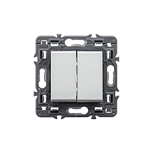 Pulsador inversor doble 6A 230V, modelo Valena Next, color aluminio, 6 x 8,5 x 8,5 centímetros (referencia: Legrand 741357)