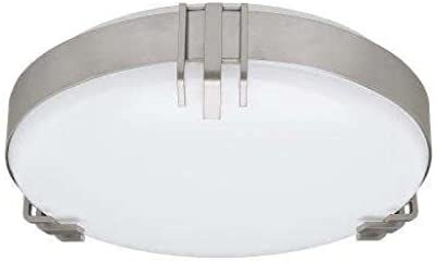 Round Mission 100 Watt Equivalent Brushed Nickel Integrated LED Flushmount