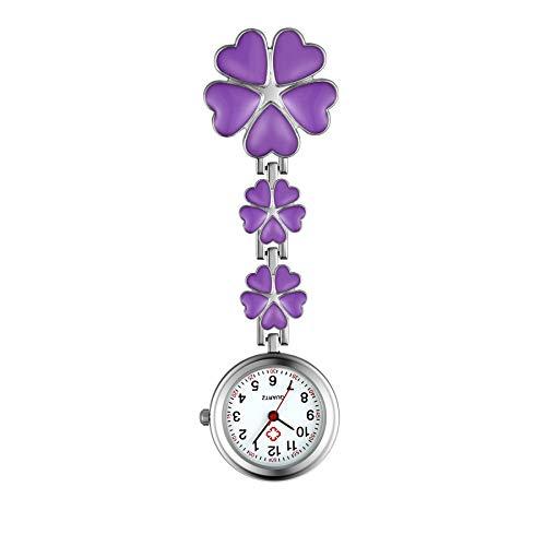 Lancardo 看護師 時計 ナースウォッチ 懐中時計 クリップ 花びら レディース アナログ 時計 ポケットウォッチ 可愛い プレゼント