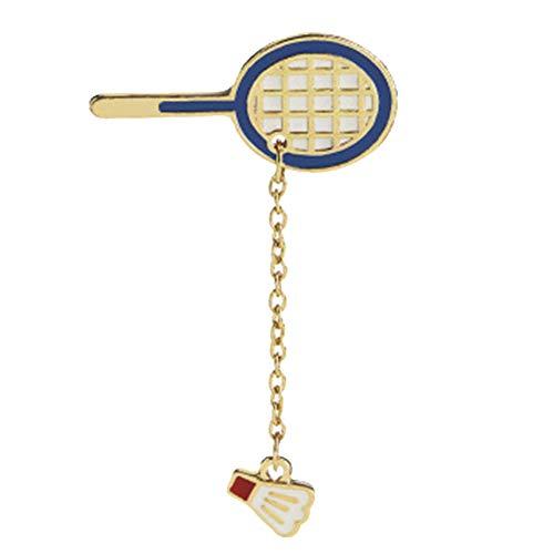 PiniceCore Raquette Badminton Creative Cartoon Badminton Tennis De Table Unisexe Trendy Bijoux Broches Broches Métal