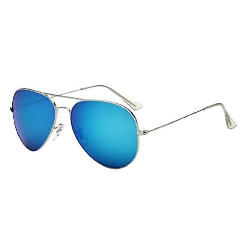 GYYOU Occhiali da pilota polarizzati classici, da uomo e donna, in cristallo, 100% protezione UV, montatura leggera ms3025, Tablet C9 blu ghiaccio con cornice argentata,