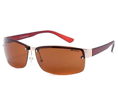Alsino Lunettes de soleil légères sans monture avec protection UV 400 Viper Eyewear Collection dans différents modèles Unisexe, marron