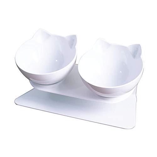 FYONGPET 猫 フードボウル 小型犬用 食器 ペット食器 2個セット 斜めパターン 透明 白いボウル (白)