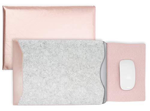 MyGadget Funda Sleeve para Laptop Portatil de 13 Pulgadas - Case + Mouse Pad - Cuero Sintético y Microfibra para Apple MacBook Air / New Pro 13